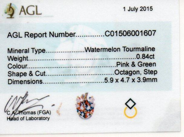 0.84ct Watermelon Tourmaline - Octagon