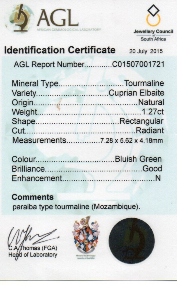 1.27ct Paraiba Tourmaline - Rectangular