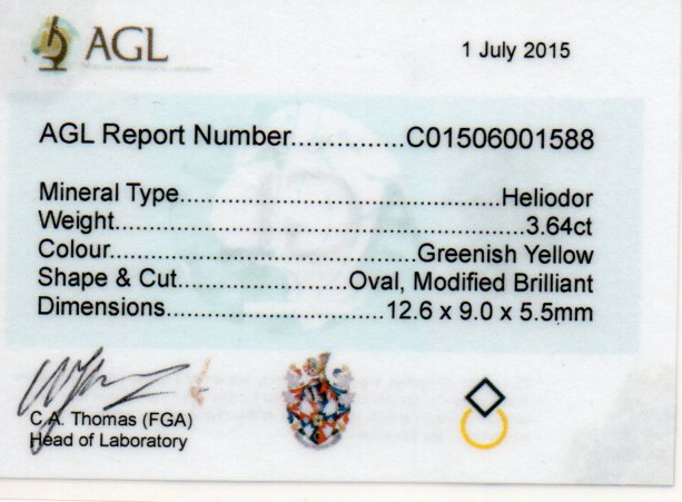 3.64ct Heliodor - Oval