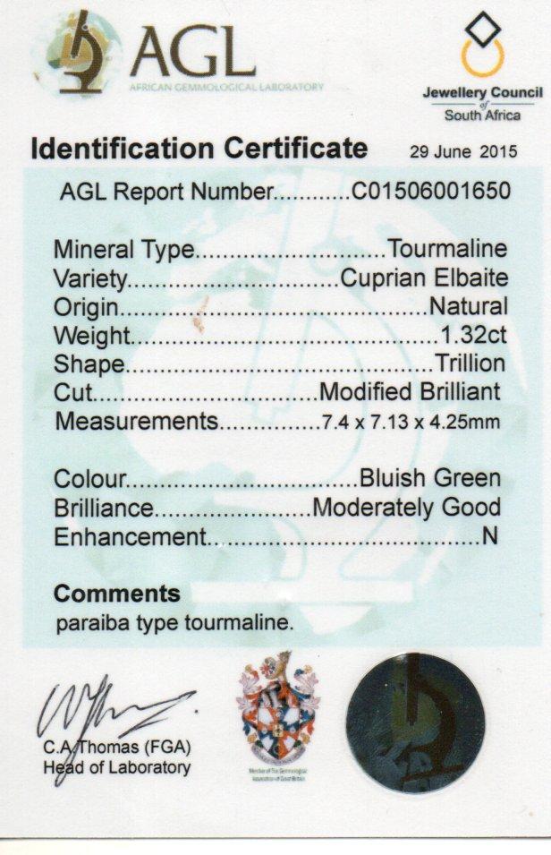 1.32ct Cuprian Elbaite Tourmaline - Trillion