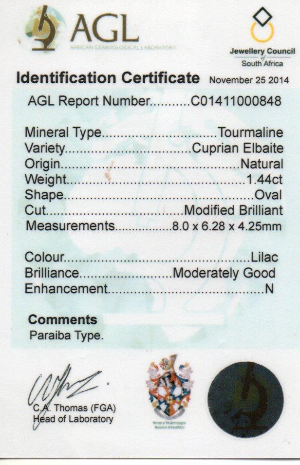 1.44ct Paraiba Tourmaline - Oval