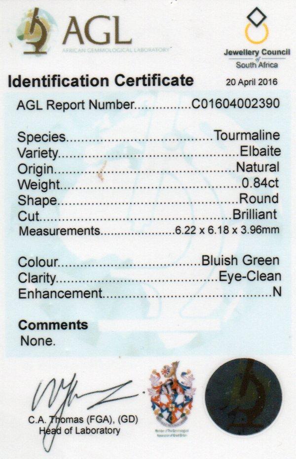 0.84ct Elbaite Tourmaline - Round