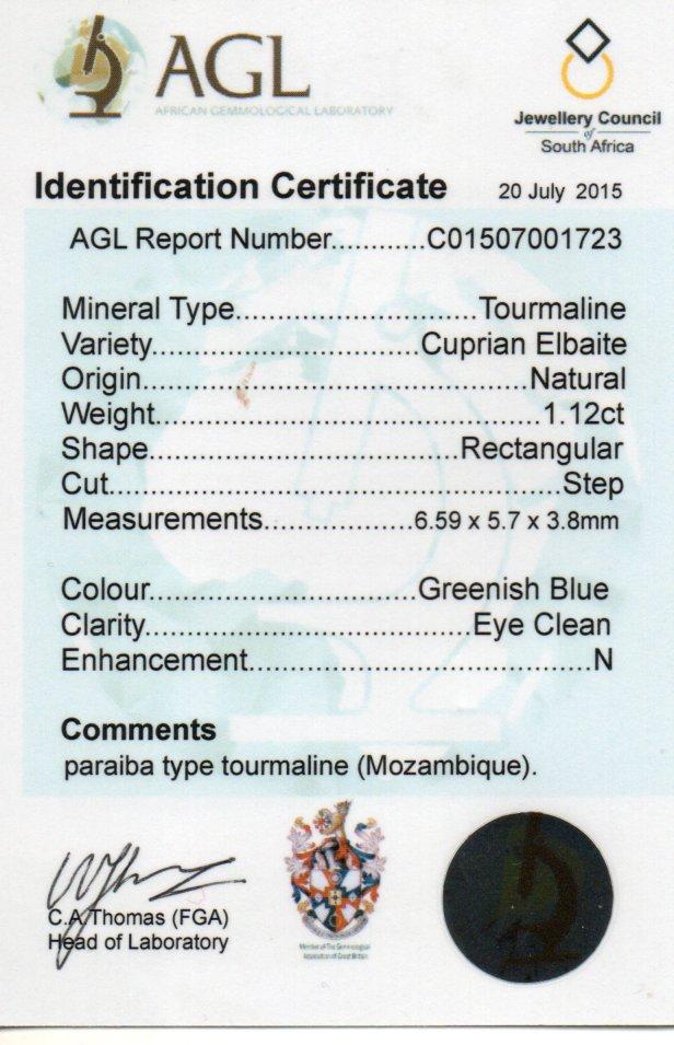 1.12ct Cupriab Elbaite Tourmaline - Rectangular