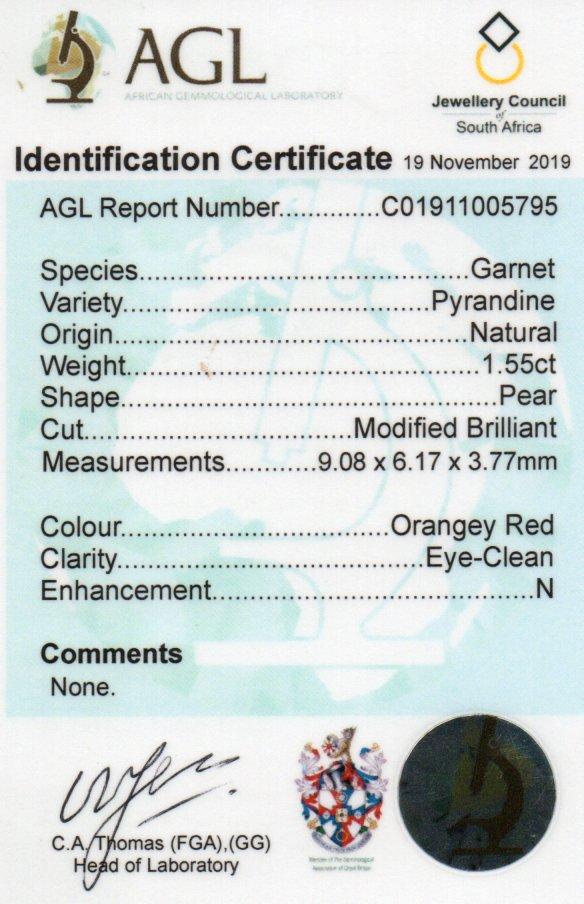1.55ct Pyrandine Garnet - Pear
