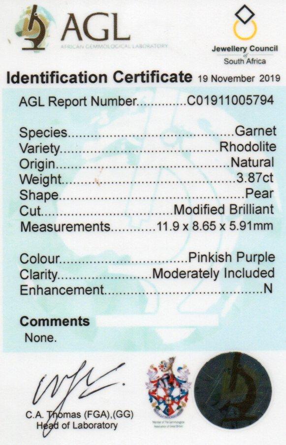 3.87ct Rhodolite Garnet - Pear