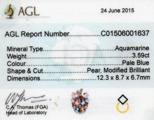 3.59ct Aquamarine Pear