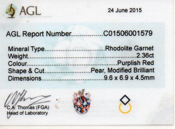 2.36ct Rhodolite Garnet - Pear