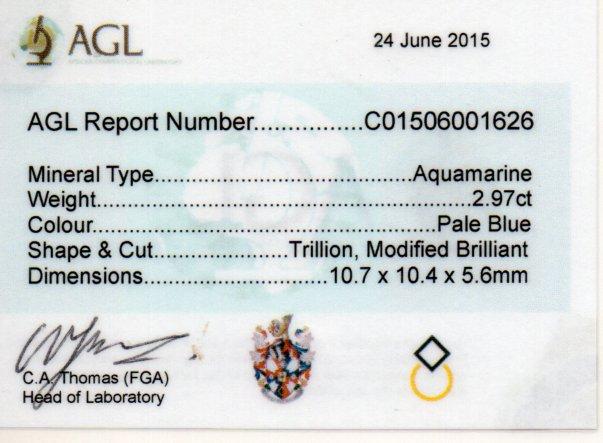 2.97ct Aquamarine - Trillion