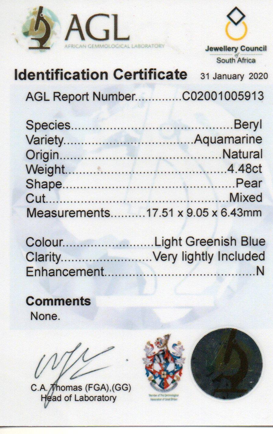 4.48ct Aquamarine - Pear